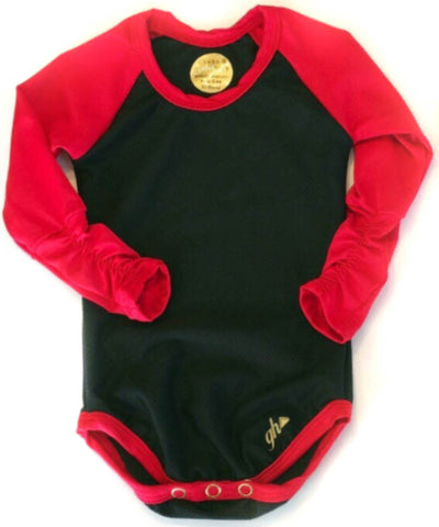 Black and Red Raglan RUCHED