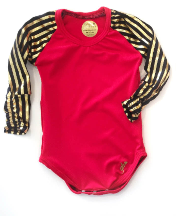Red with Black and Gold Sleeves Raglan