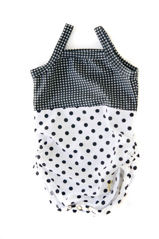Black & White Gingham with Black & White Polkadots