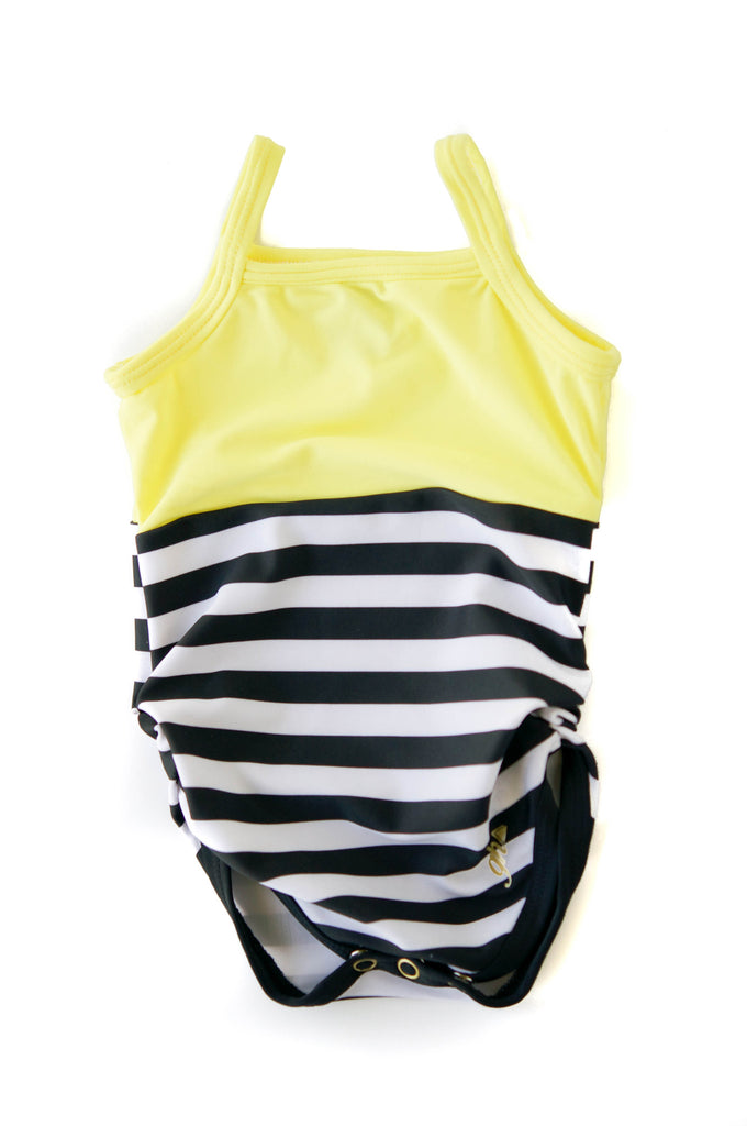 Lemon Yellow with Black & White Stripes