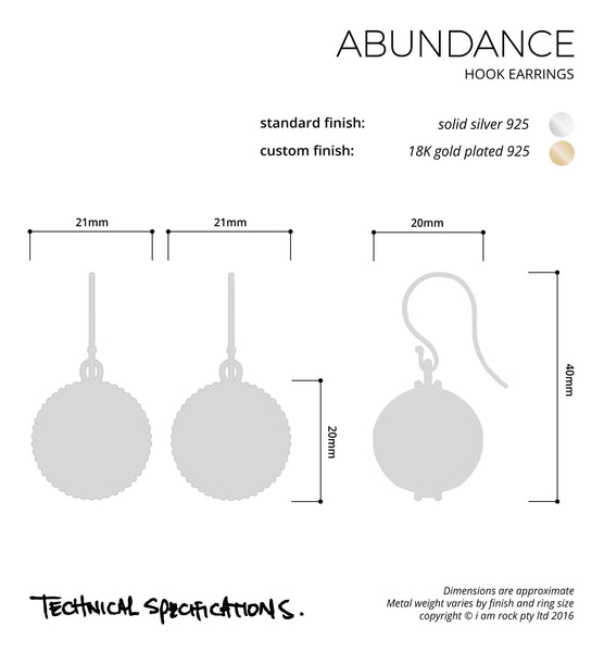 abundance hook earrings i am rock
