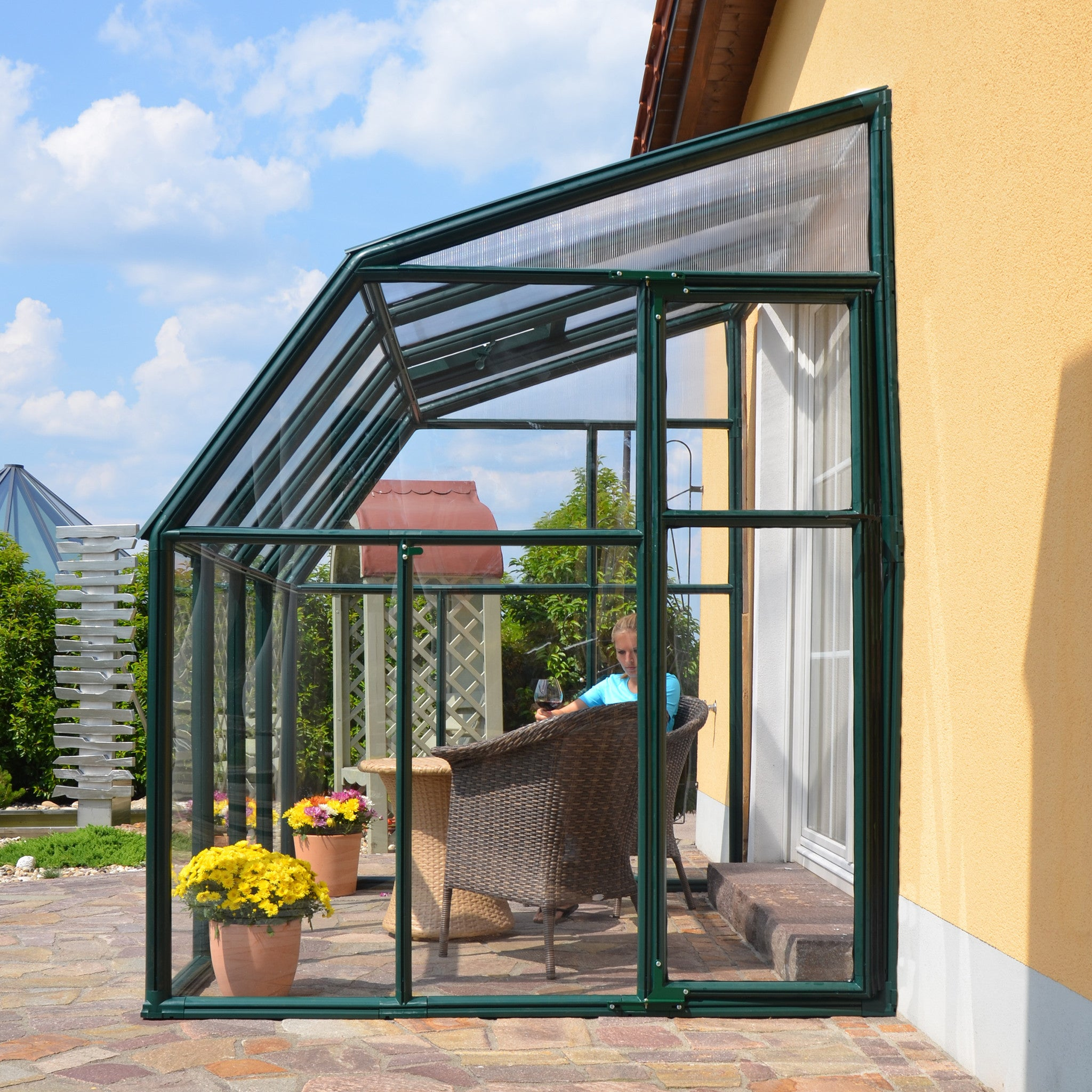 ... Rion Sun Lounge 2   Patio Enclosure Polycarbonate Greenhouse, Green  Lean To Greenhouse Rion ...