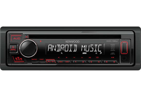 KENWOOD KDC 130UR CD-Receiver with Front USB & AUX Input - SAFE'N'SOUND