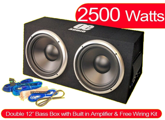 "OE Audio Dual 12"" Subwoofer box Sealed Enclosure Built in Amplifier 2500 Watts!! - SAFE'N'SOUND"