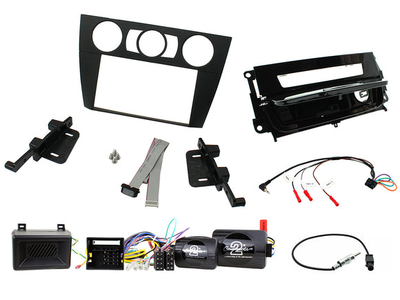 CTKBM16 DOUBLE DIN FULL FITTING KIT FOR BMW BLACK DOUBLE DIN WITH PIANO BLACK ASHTRAY  3 - 2005 - 2012 E90/E91/E92/E93 - SAFE'N'SOUND