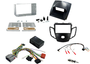 CTKFD07 COMPLETE BLACK DOUBLE DIN FITTING KIT GREY DISPLAY COVER FORD FIESTA - 2008> - SAFE'N'SOUND