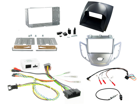 CTKFD10 COMPLETE SILVER DOUBLE DIN WITH GREY DISPLAY COVER FITTING KIT FORD FIESTA - 2008 - 2010 - SAFE'N'SOUND