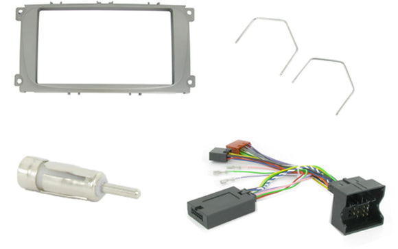CTKFD25 COMPLETE SILVER DOUBLE DIN FITTING KIT FORD FOCUS MKII - 2007 - 2011 MONDEO - 2007 - 2011 S-MAX - 2007 - 2011 - SAFE'N'SOUND