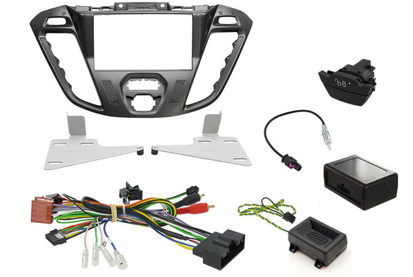 CTKFD42C COMPLETE NEBULA BLACK DOUBLE DIN FITTING KIT FORD TRANSIT CUSTOM 2013> - SAFE'N'SOUND
