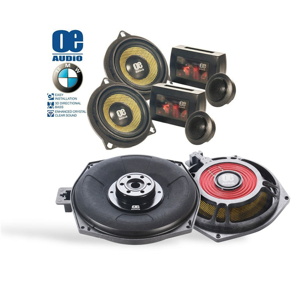 OE Audio BMW FRONT COMPONENT SPEAKERS AND UNDERSEAT WOOFER KIT - SAFE'N'SOUND