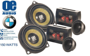 "OE Audio OE-100.2 BMW Straight Fit In Car Audio Component Speakers ""No Modification Require"" 150W - SAFE'N'SOUND"