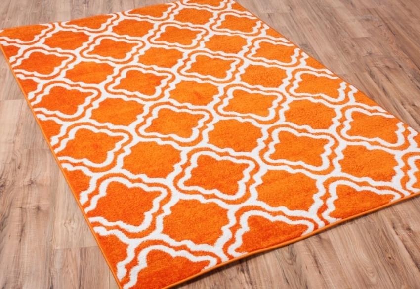 Modern Calipso Orange Lattice Trellis Area Rug