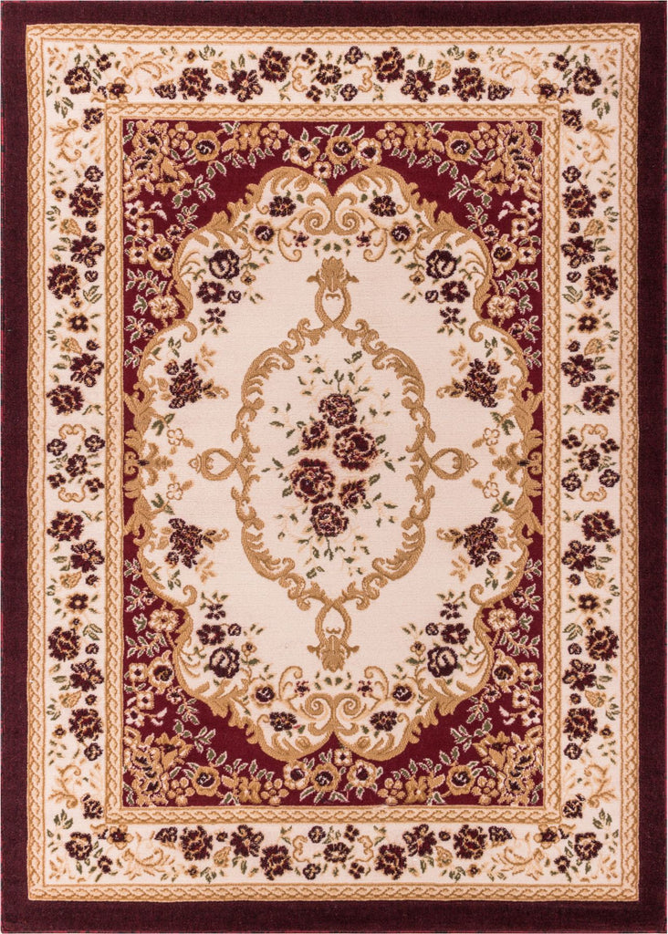 Floral French Aubusson Red European Area Rug
