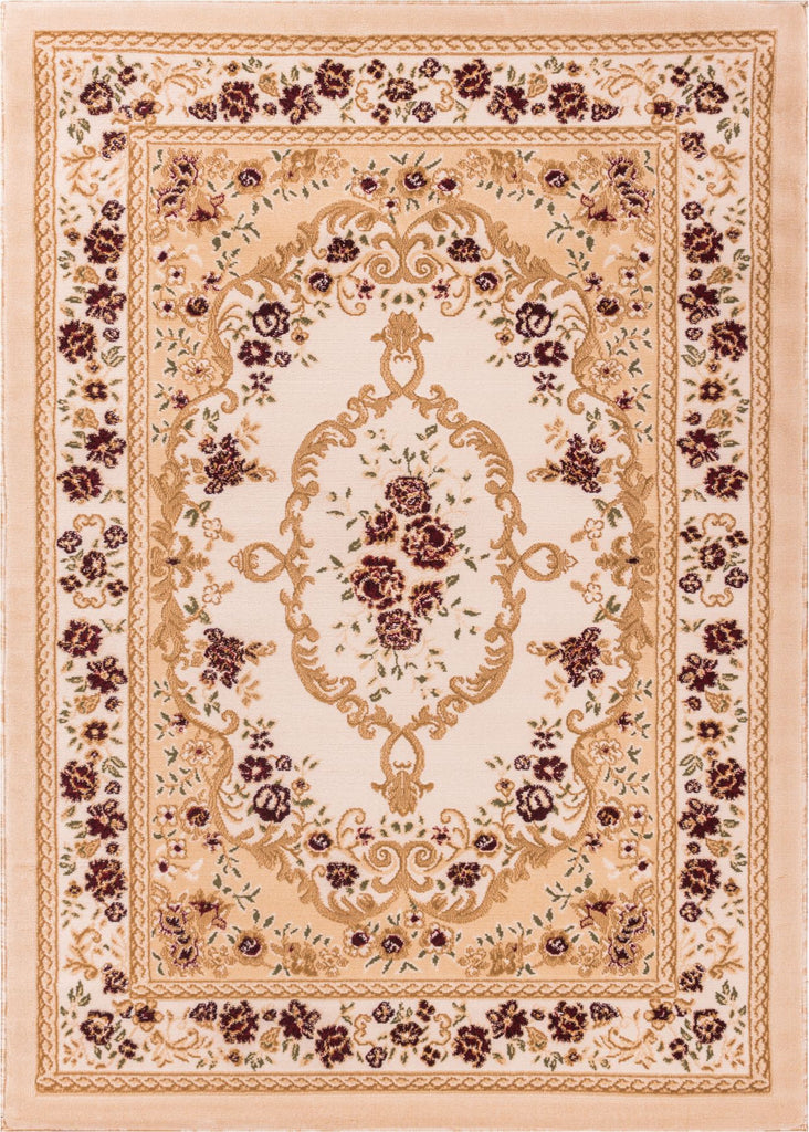 Floral French Aubusson Ivory European Area Rug