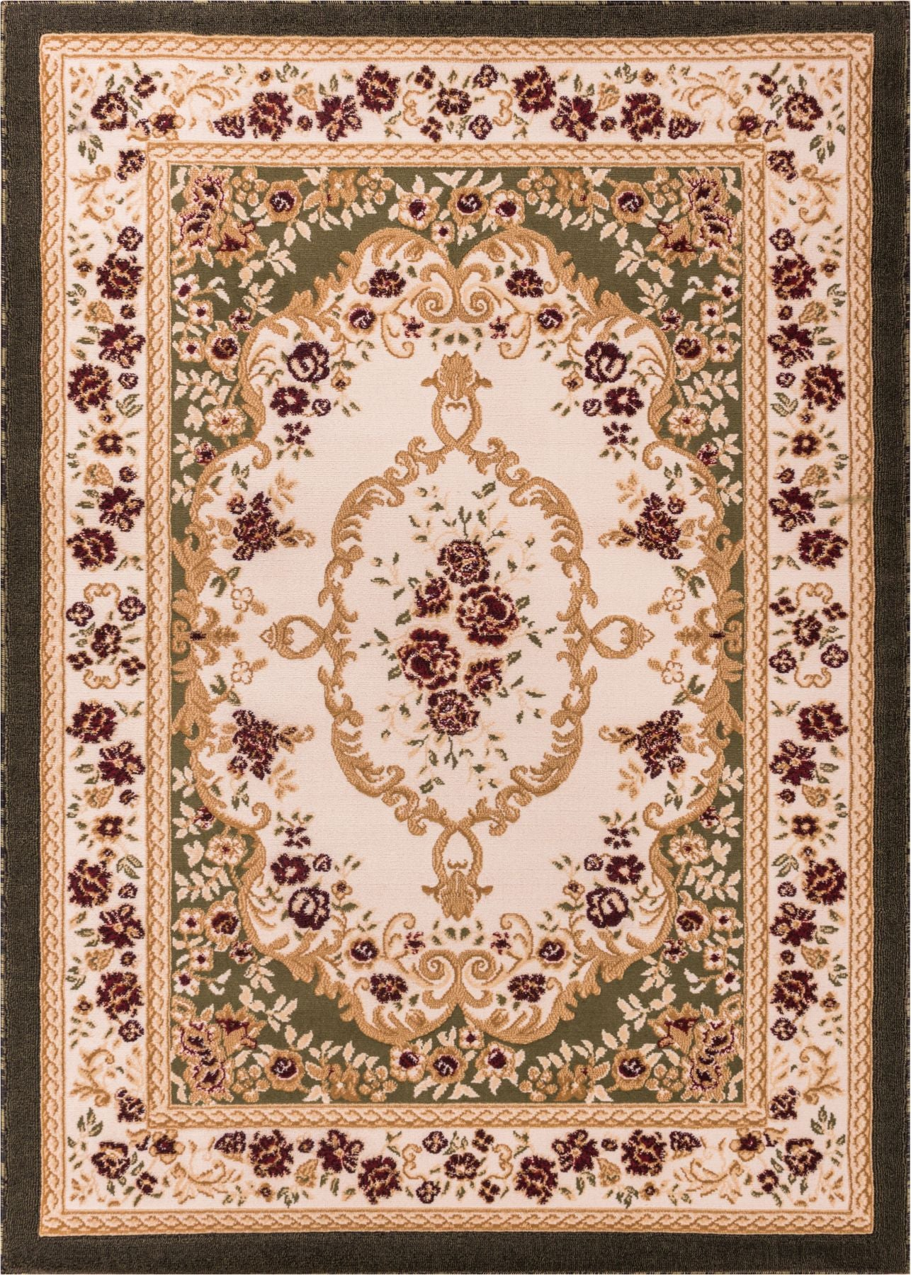 Floral All Over French Aubusson Style Value Green Area Rug