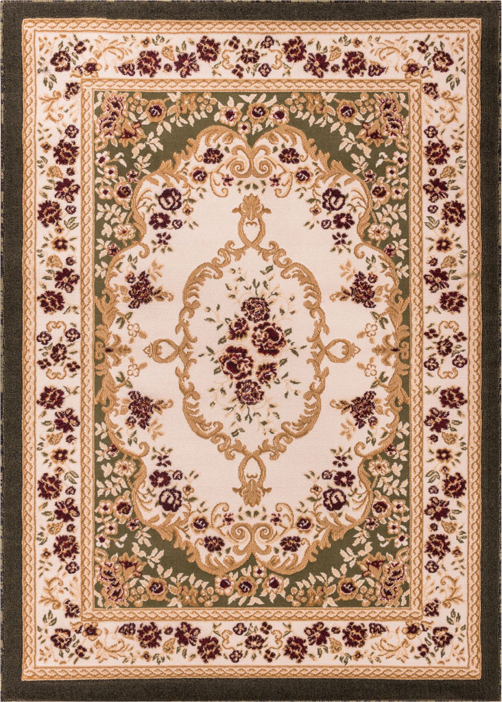 Floral French Aubusson Green European Area Rug