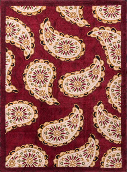 Paisley Transitional Floral Modern Soft Easy Care Pile Red