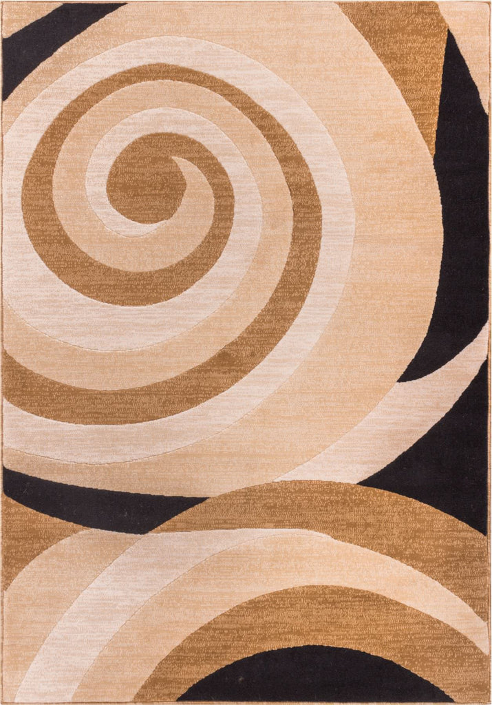 Modern Soft Tone and Tone Beige Cream Black Area Rug