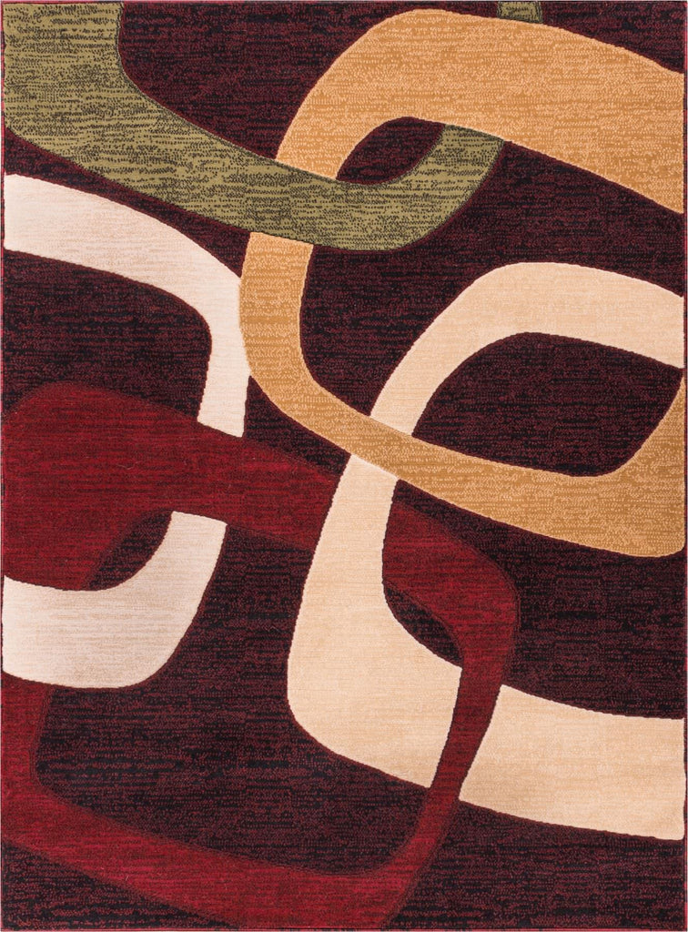Criss Cross Squares and Shapes Black Red Beige Carving Area Rug