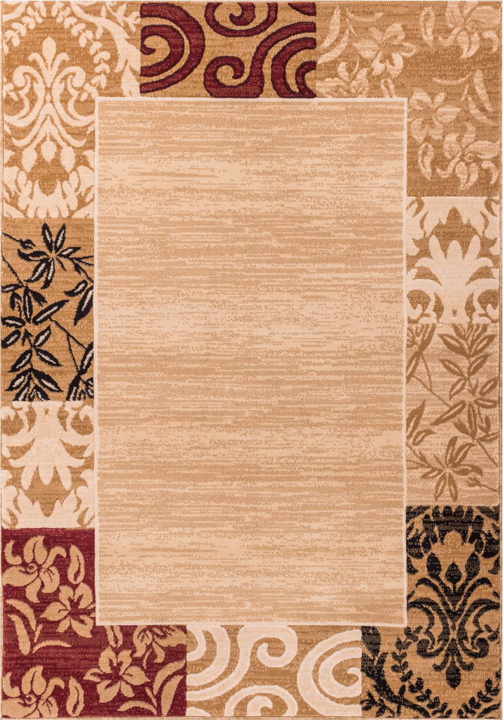 Plain Border Ombre Damask Warm Colors Area Rug