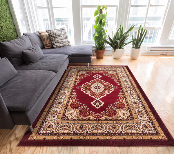 Sephan Red Traditional Oriental Sarouk Medallion Modern