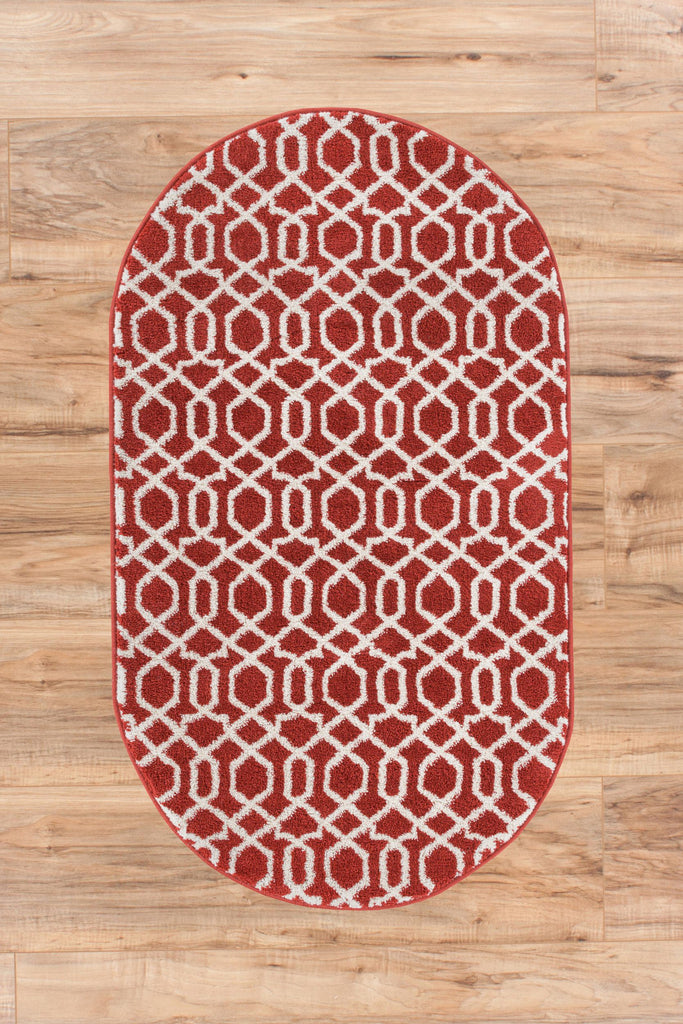 Zipper Helix Red Geometric Lattice Modern Contemporary Casual Rug