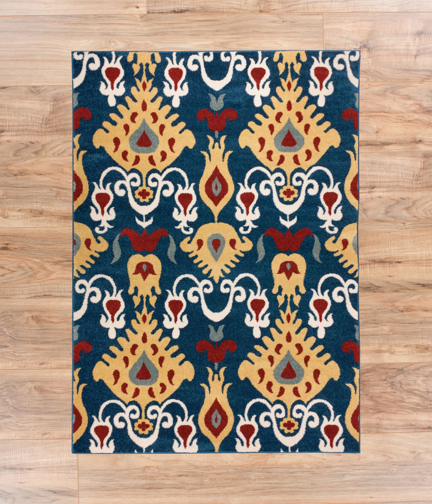 Iggy's Ikat Multi Dark Blue Oriental Geometric Modern Casual Tribal Rug