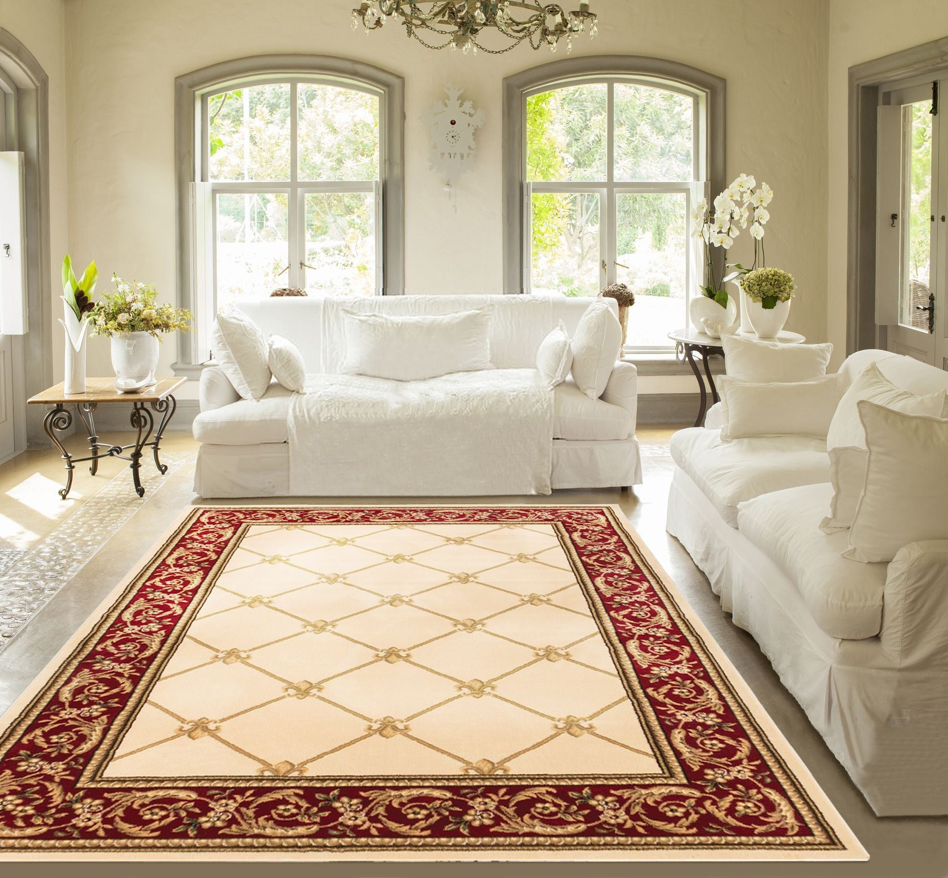 Patrician Trellis Ivory French European Formal Traditional Area Rug Easy To Clean Stain Fade Resistant Shed Free Modern Contemporary Floral Transitional