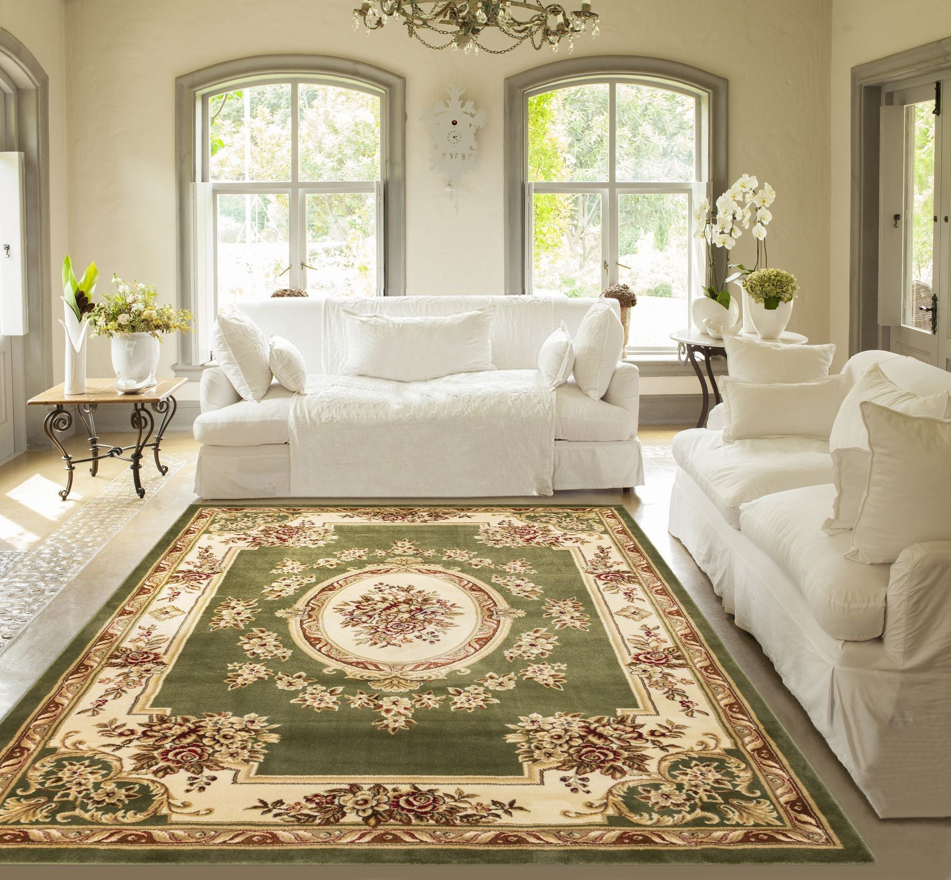 Pastoral Medallion Green French European Formal Traditional Area Rug ...