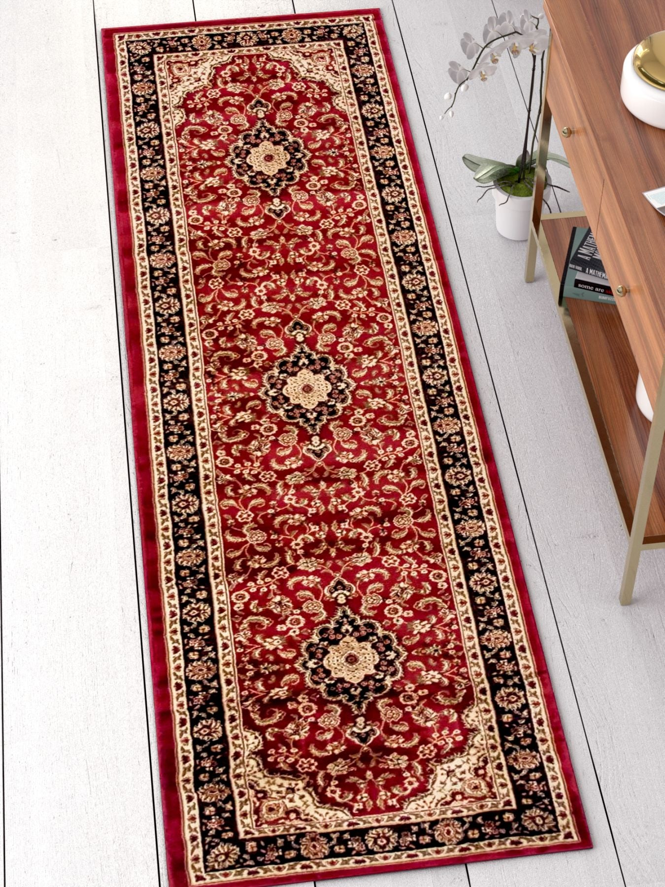Noble Medallion Red Persian Floral Oriental Formal