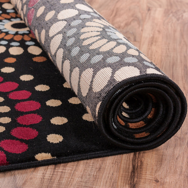 Modern Nature Rug: Blossom Valley Black Multi Floral Nature Modern Casual