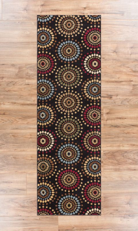 Blossom Valley Black Multi Floral Nature Modern Casual Area Rug