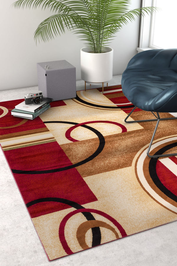 Deco Rings Red Geometric Modern Casual Area Rug Easy To