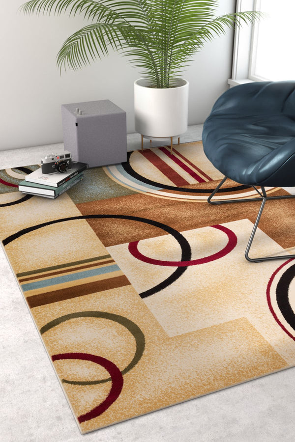 Deco Rings Ivory Geometric Modern Casual Area Rug Easy To