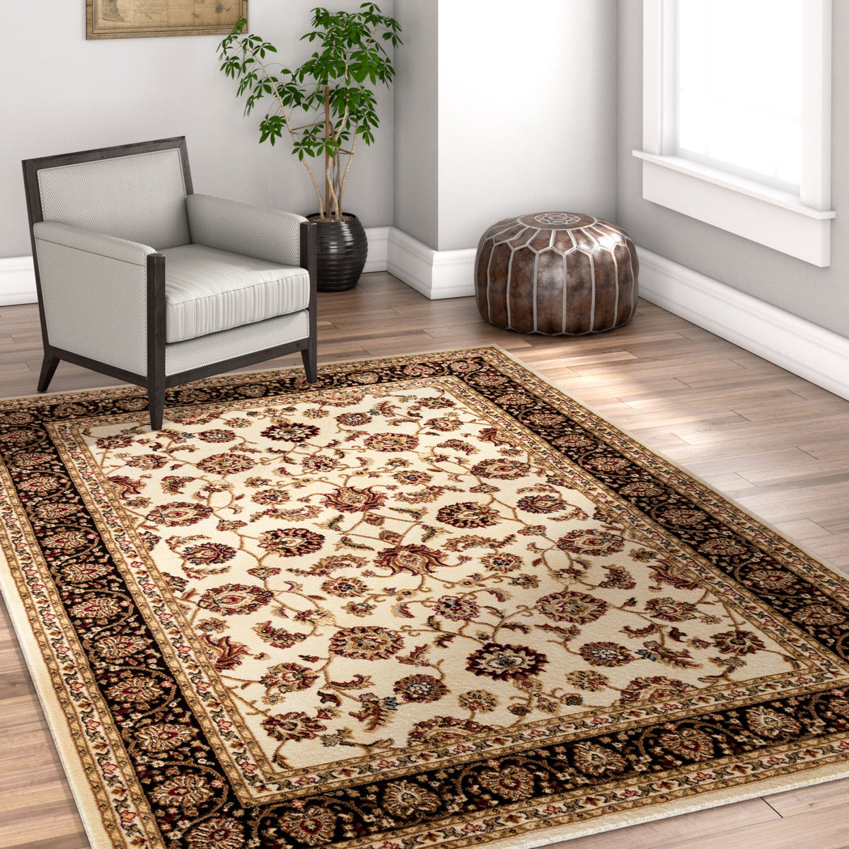 Noble Sarouk Ivory Persian Floral Oriental Formal Traditional Area Rug