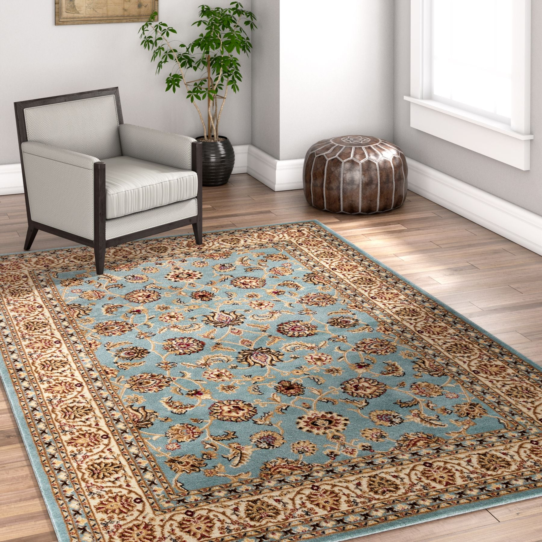 Noble Sarouk Light Blue Persian Floral Oriental Formal Traditional Area Rug