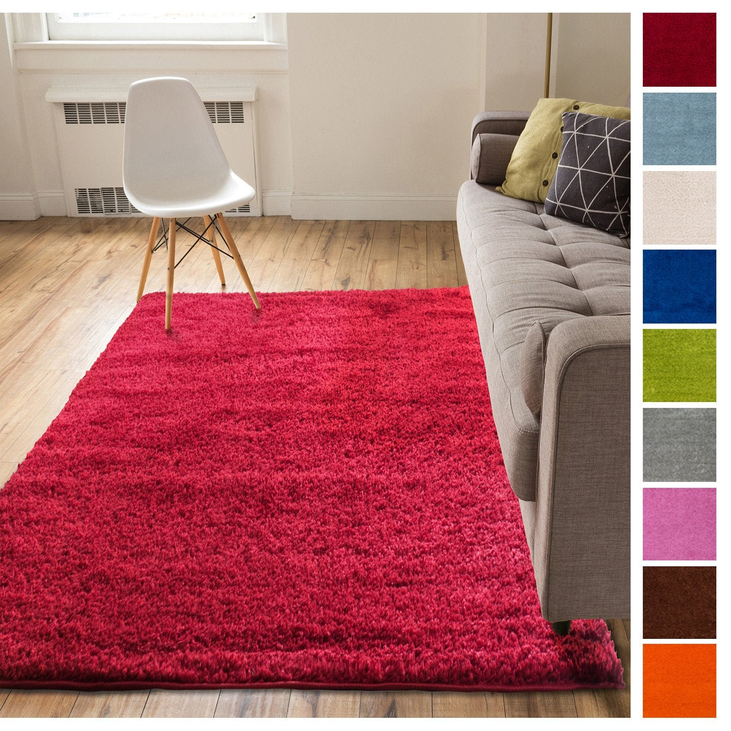 solid retro modern red shag rug plain plush