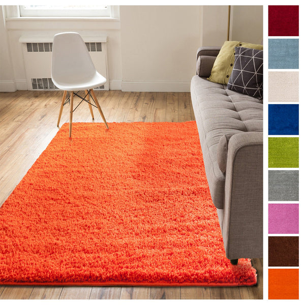 Solid Retro Modern Orange Shag 2x7 2 X 7 3 Runner