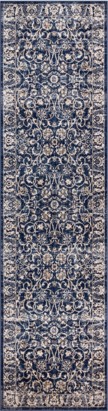 Essex Blue Beige Traditional Soft Plush Shed Free Area Rug