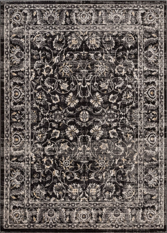 Essex Charcoal Grey Beige Traditional Soft Plush Shed Free Area Rug