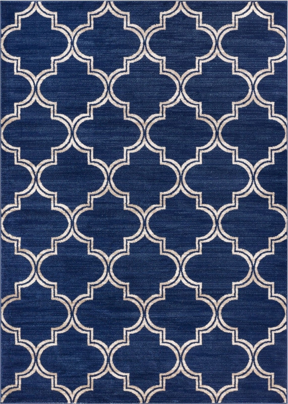 Minaret Trellis Blue Beige Lattice Modern Geometric Soft Plush Shed Free Area Rug