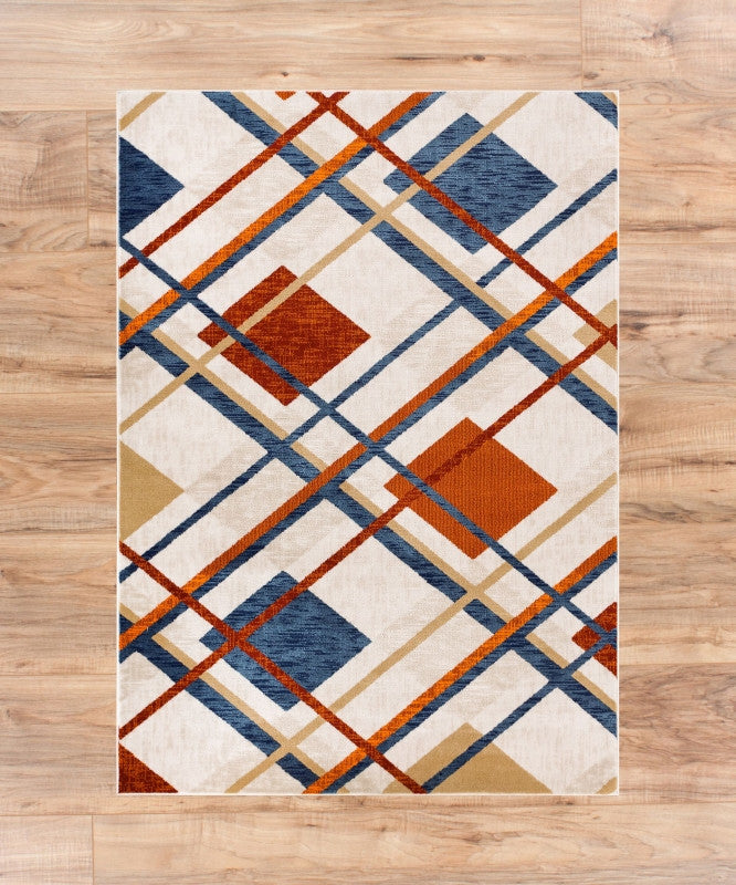Royal Tartan Plaid Beige Multi Checked Geometric Soft Plush Shed Free Area Rug