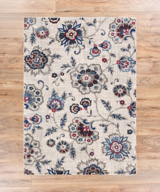 Oshibana Beige Blue Modern Floral Traditional Soft Plush Shed Free Area Rug