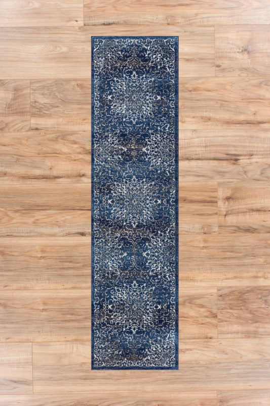 Coverly Blue Beige Medallion Traditional Soft Plush Shed Free Area Rug