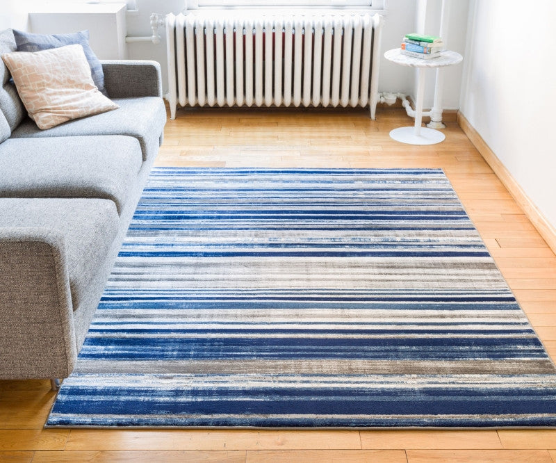 Riviera Stripe Blue Beige Geometric Abstract Soft Plush Shed Free Area Rug