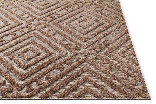 Cannes Brown Indoor Outdoor Diamond Area Rug Traditional