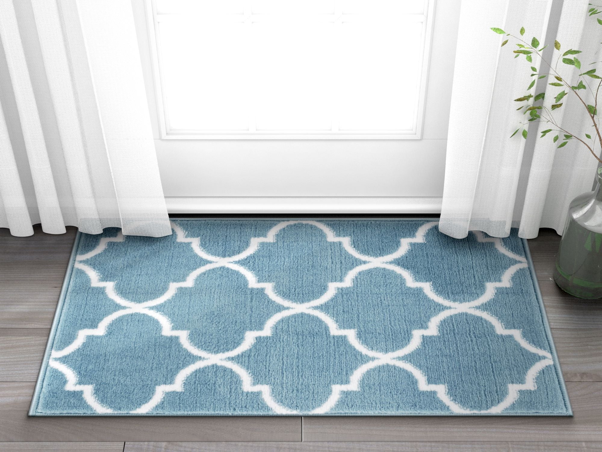 Daisy Lattice Blue Moroccan Trellis Area Rug Ruglots Com