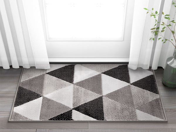 Arlo Tiles Grey Modern Triangle Pattern Area Rug Ruglots Com