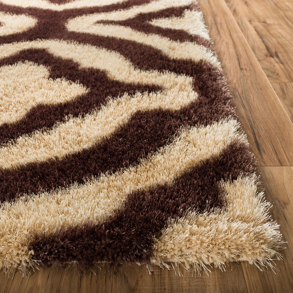 Luster Lattice Shag Beige & Taupe Solid Plain Modern Area Rug