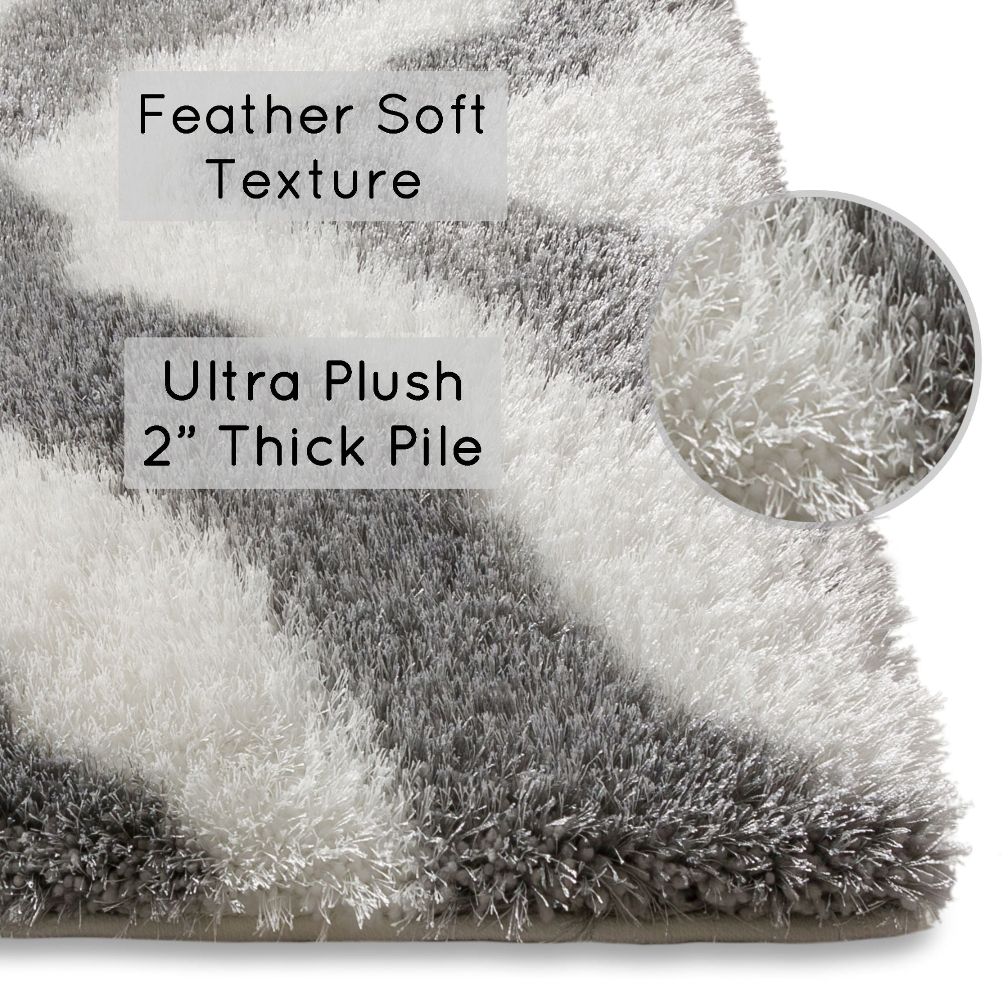 Picture of: Luster Lattice Shag Grey White Solid Plain Modern Ultra Thick Soft Plush Shimmer 3×5 3 3 X 5 Area Rug Contemporary Retro Polyester Textured Length 2 Pile Yarn Easy Clean Stain